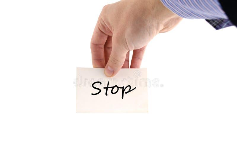 Stoppen Sie Textkonzept lizenzfreie stockbilder