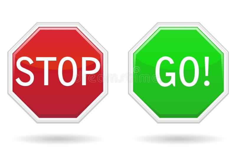 Stoppen Sie u. gehen Sie Zeichen lizenzfreie abbildung