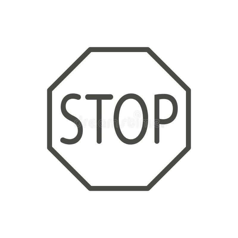 Stoppen Sie Verkehrsikonenvektor Linie Warnungsendstraßensymbol lokalisiert lizenzfreie abbildung