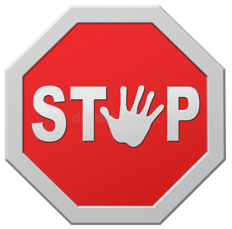 Stoppen Sie Verkehrsschildstoppen des Halts das rote warnende lizenzfreie abbildung