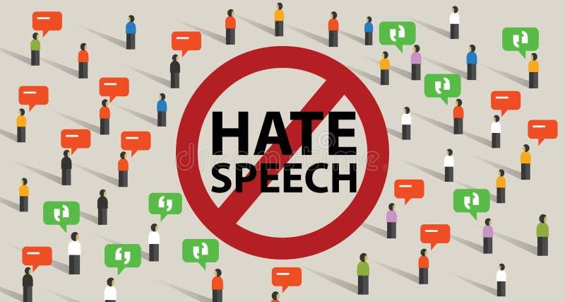Stoppen Sie Volksverhetzungskonflikt-Gewalttätigkeitsanfang von der aggressiven Kommunikation der Kommentare durch Menge vektor abbildung
