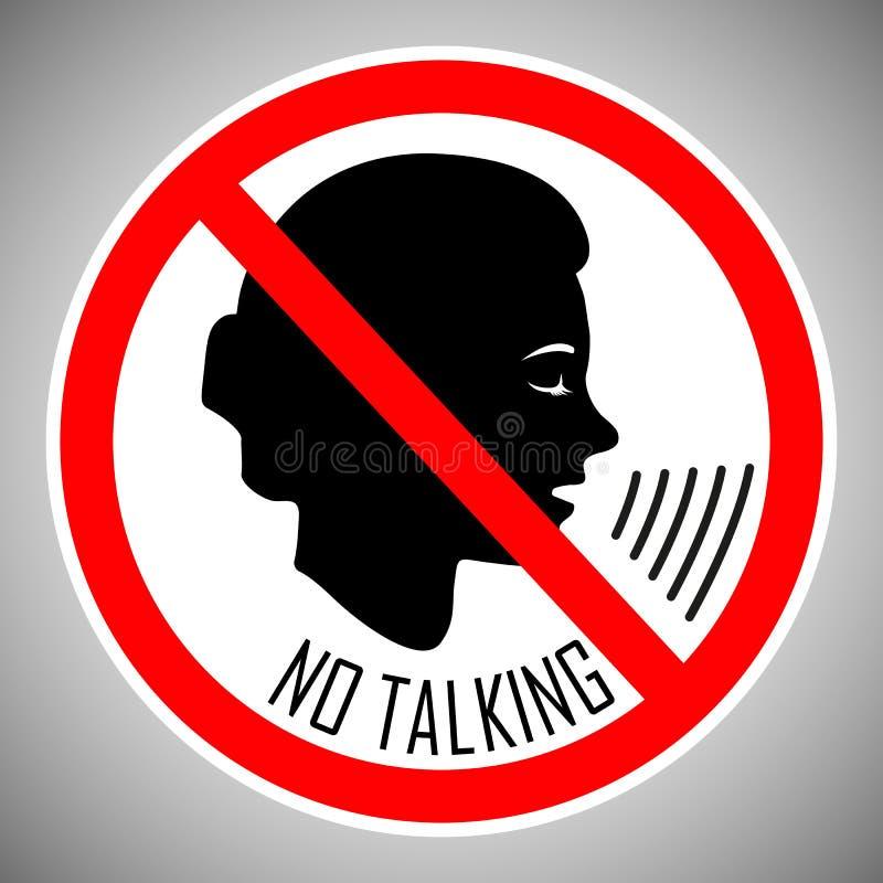 Stoppen Sie zu sprechen Keine Unterhaltung Keine Geräusche Das Konzept der Ikone ist das richtige Verhalten von Leuten in diesem  stock abbildung
