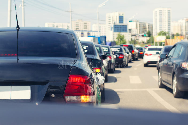 Stopper od samochodów w śródmieściu zdjęcia stock