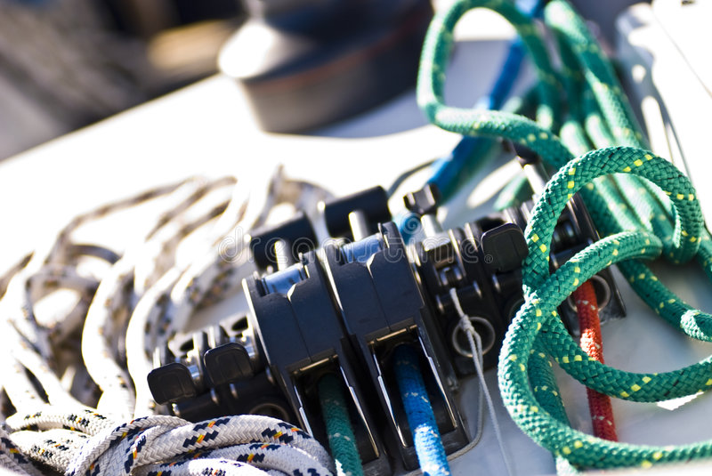 Stopper and Ropes. Stoppers and Ropes on a sailboat - Italy 2007 royalty free stock image