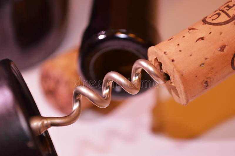 corckscrew Stopper Wine red bottle glass drink beverage stock photo
