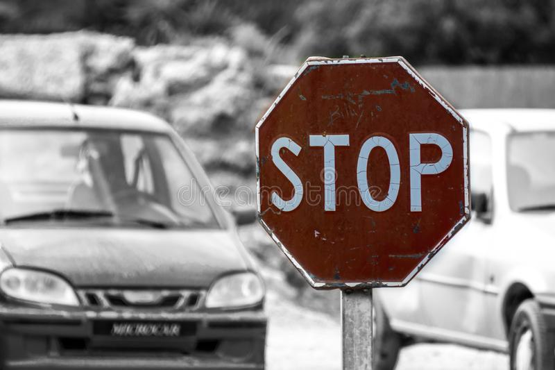 Stoppet undertecknar in Spanien arkivbild