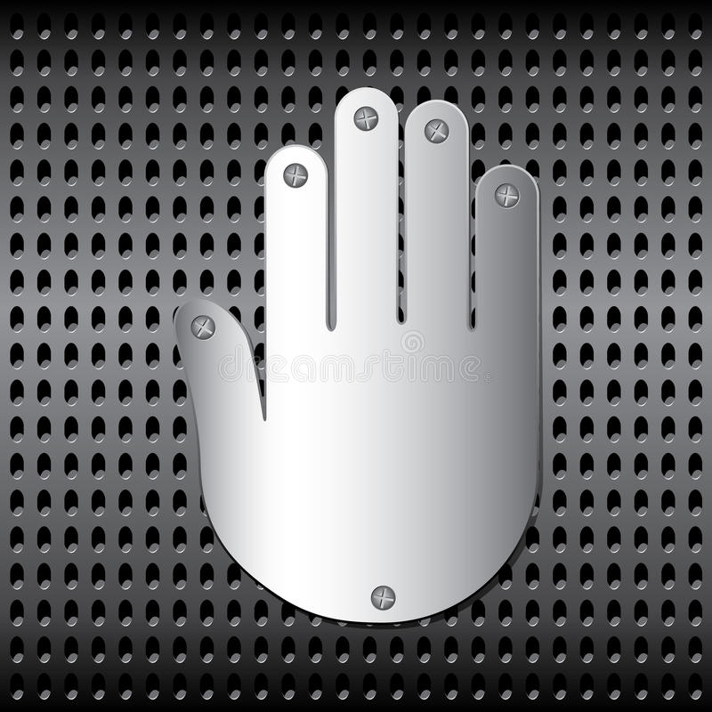 Download Stopping metal hand stock vector. Image of chrome, grid - 43014419