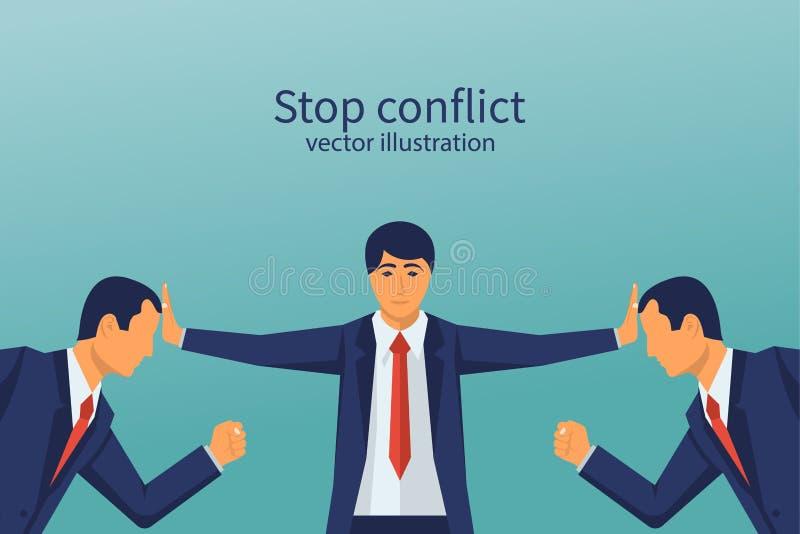 Stoppkonflikt Affärsmandomaren finner kompromiss royaltyfri illustrationer