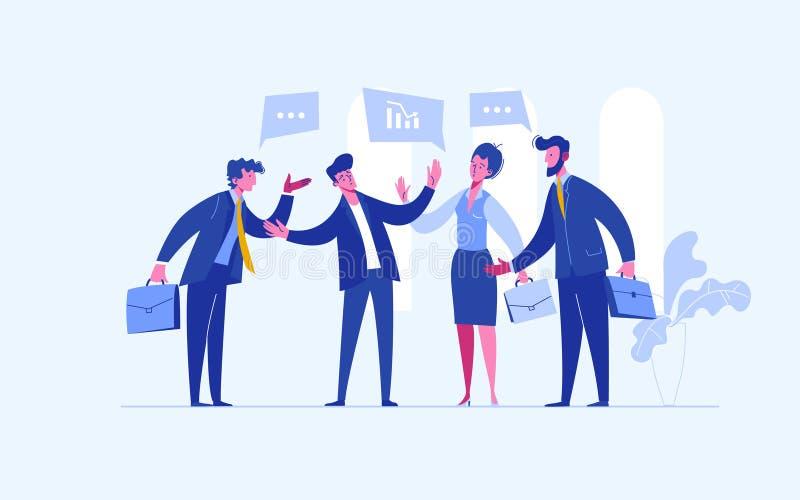 Stoppkonflikt Affärsmandomaren finner kompromiss Medlare som löser konkurrens Konflikt och lösning Mannen kastar vektor illustrationer