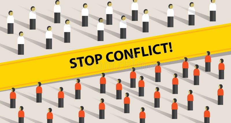 Stoppkonflikt av för medlingproblem för två folkmassa grupp människor för kamp vektor illustrationer