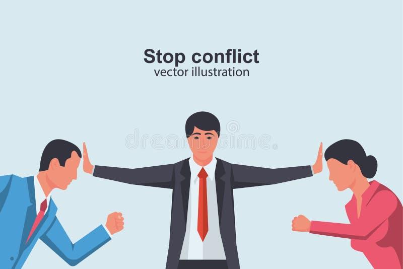 Stoppkonflikt Man och kvinna kontra royaltyfri illustrationer