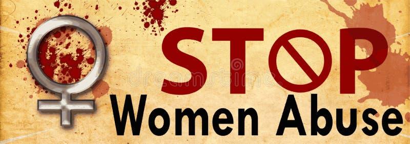 Stoppkvinnamissbruk vektor illustrationer