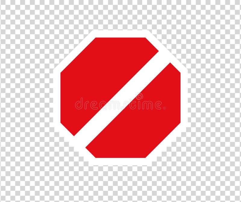 Stopplinje vägmärke med handgest Nytt rött skriver in inte trafiktecknet Tecken f?r riktning f?r varningsf?rbudsymbol Varningssto stock illustrationer