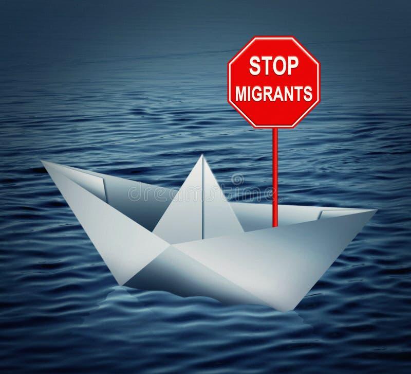 Stoppmigranter - begreppsdiagram royaltyfri foto