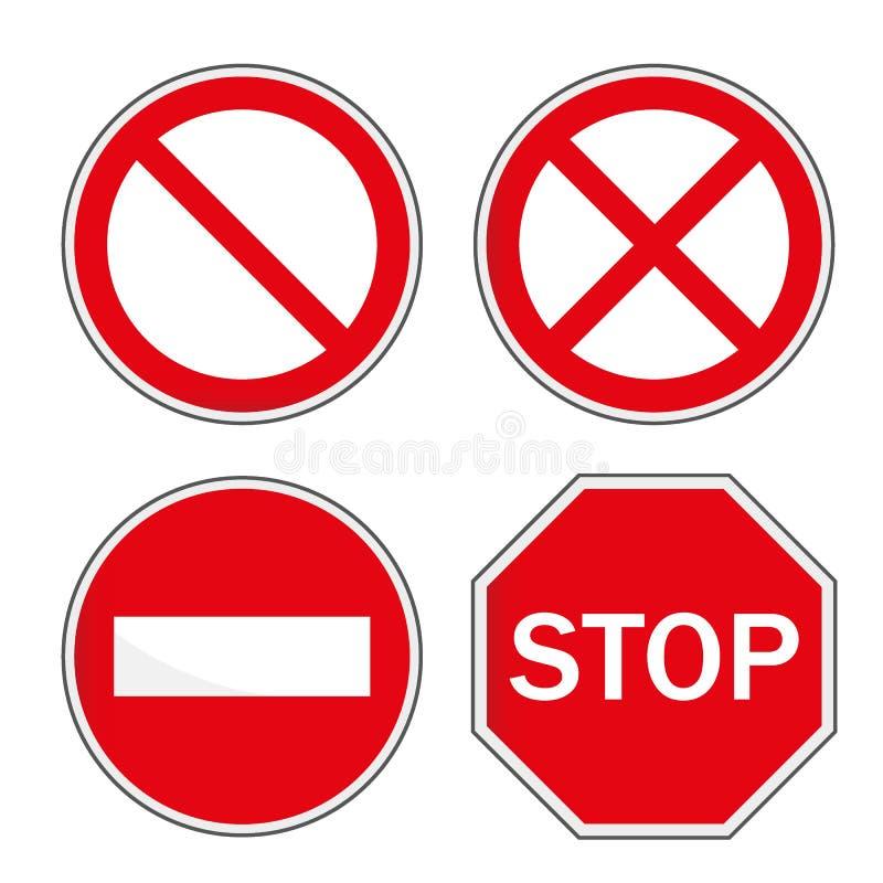 Stoppschild, Satz Auch im corel abgehobenen Betrag stock abbildung