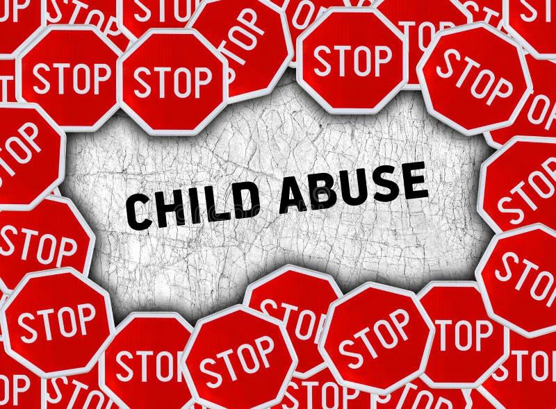 Stoppschild- und Wortkindesmissbrauch lizenzfreie abbildung
