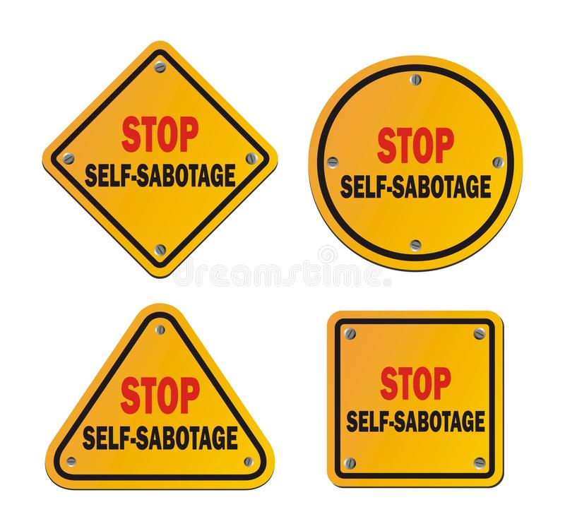 Stoppsjälv-sabotage - roadsigns royaltyfri illustrationer