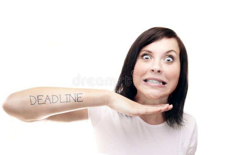 Stopptid för kvinnawíthtatuering fotografering för bildbyråer