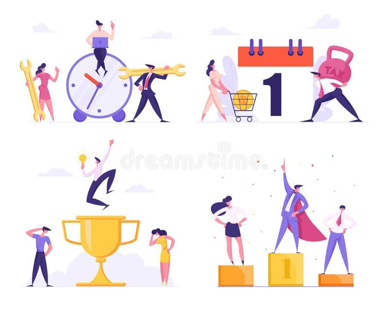 Stopptid teknisk service, affärsledarskap, skattuppsättning Lägen för Businesspeople i regeringsställning stock illustrationer