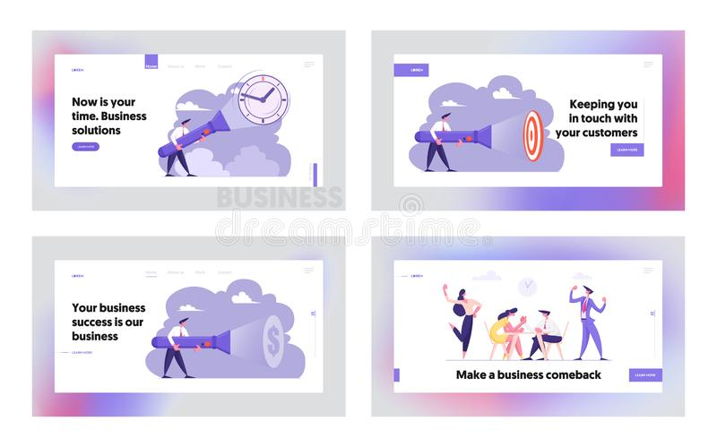 Stopptid Tid som söker idé, uppsättning för sida för landning för Website för brottning för schemaaffärsarm som avtäcker gömda ob stock illustrationer