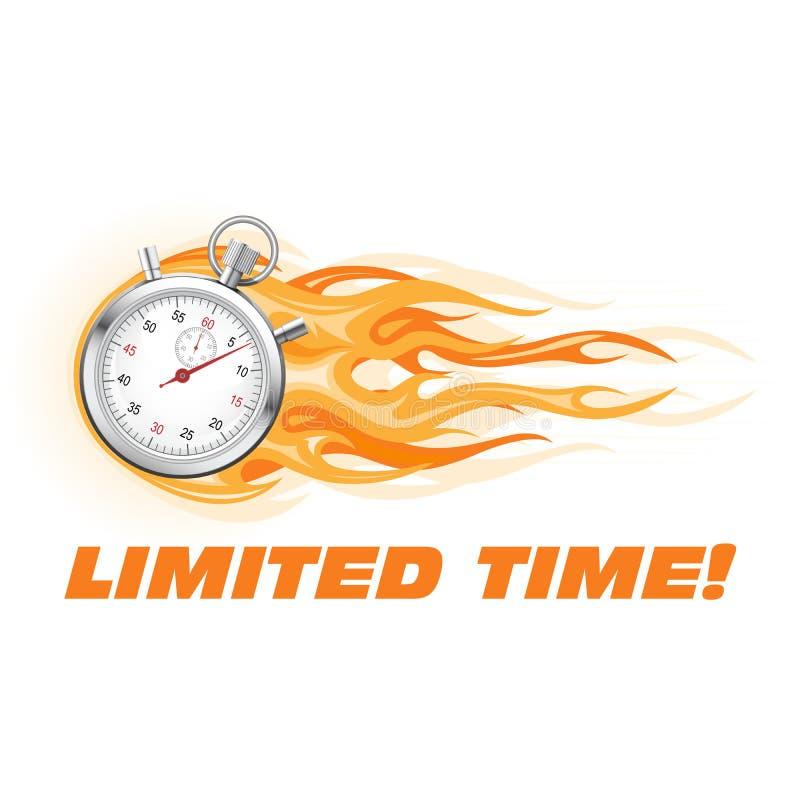 Stoppuhr in der Flamme - Angebotfahne der begrenzten Zeit lizenzfreie abbildung