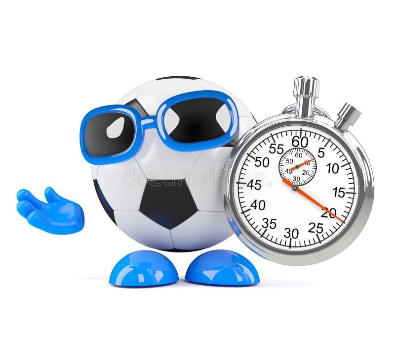 Stoppuhr des Fußballs 3d vektor abbildung