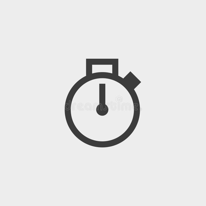 Stoppuhr-Ikone in einem flachen Design in der schwarzen Farbe Vektorabbildung EPS10 lizenzfreie abbildung