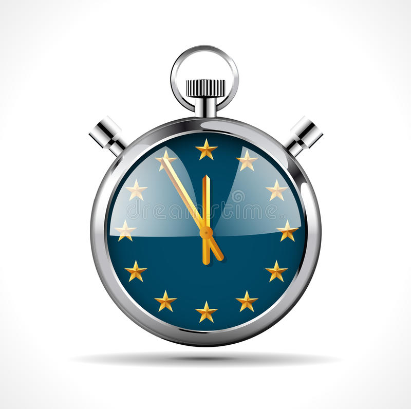Stoppuhr mit EU-Flagge - Zeit für Europa lizenzfreie abbildung