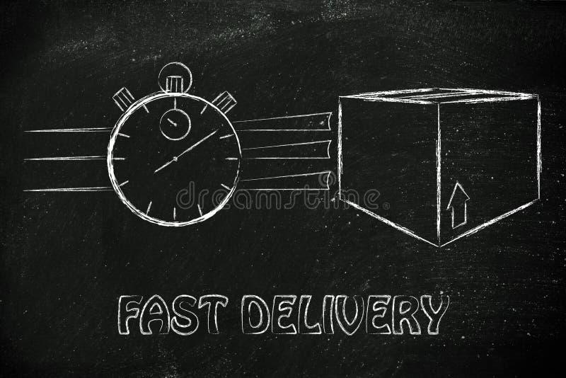 Stoppuhr und Pakete, Konzept der schnellen Lieferung stockbilder