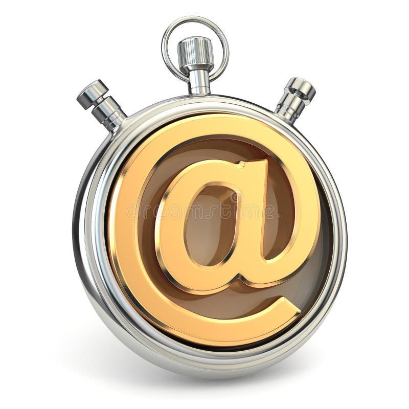 Stoppuhr und Symbol von E-Mail. On-line-Unterstützung. vektor abbildung