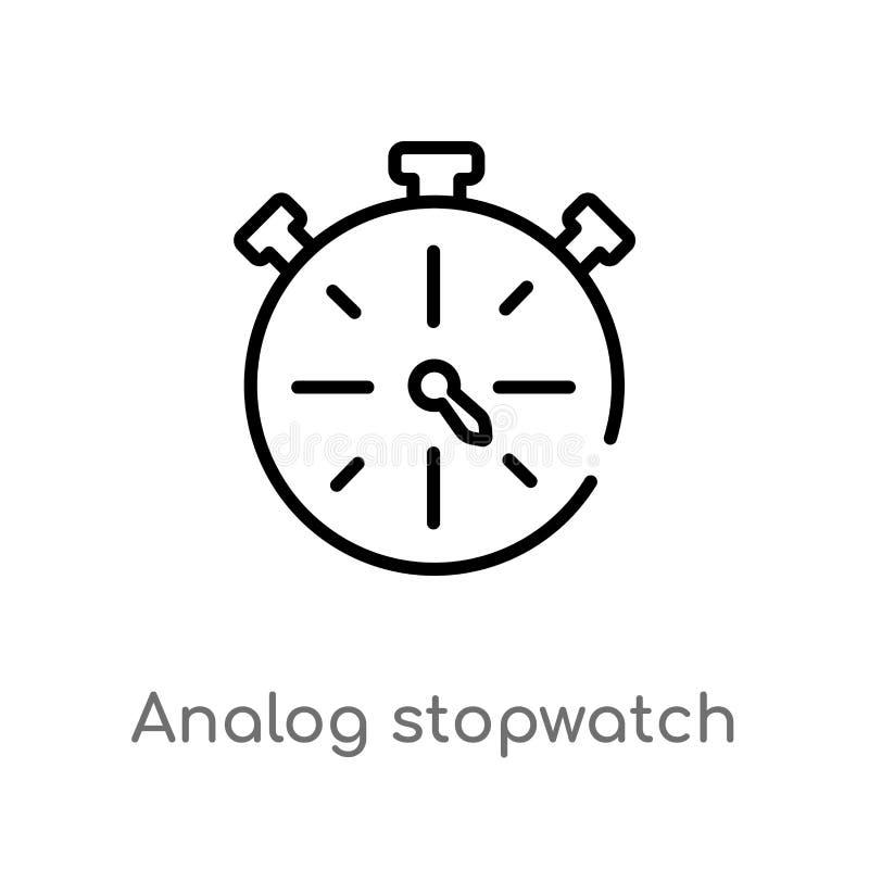 Stoppuhr-Vektorikone des Entwurfs analoge lokalisiertes schwarzes einfaches Linienelementillustration vom allgemeinen Konzept Edi stock abbildung