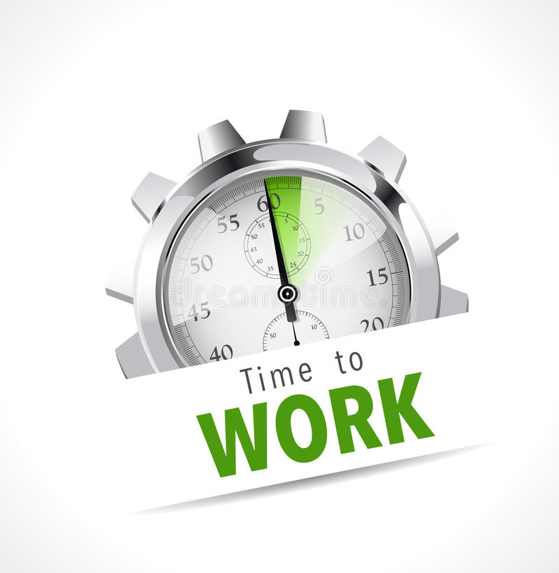 Stoppuhr - Zeit zu arbeiten stock abbildung