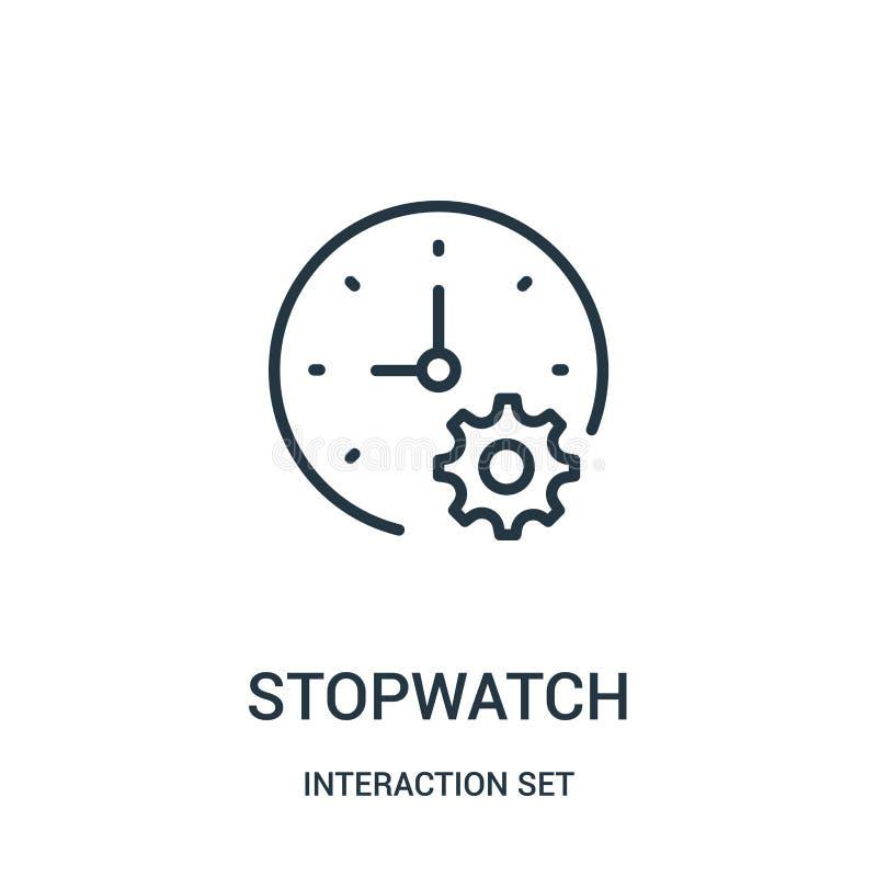 Stoppuhrikonenvektor von der Interaktionssatzsammlung Dünne Linie Stoppuhrentwurfsikonen-Vektorillustration stock abbildung
