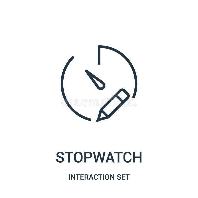Stoppuhrikonenvektor von der Interaktionssatzsammlung D?nne Linie Stoppuhrentwurfsikonen-Vektorillustration lizenzfreie abbildung