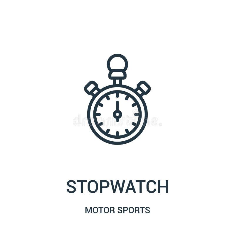 Stoppuhrikonenvektor von der Motorsportsammlung D?nne Linie Stoppuhrentwurfsikonen-Vektorillustration Lineares Symbol stock abbildung
