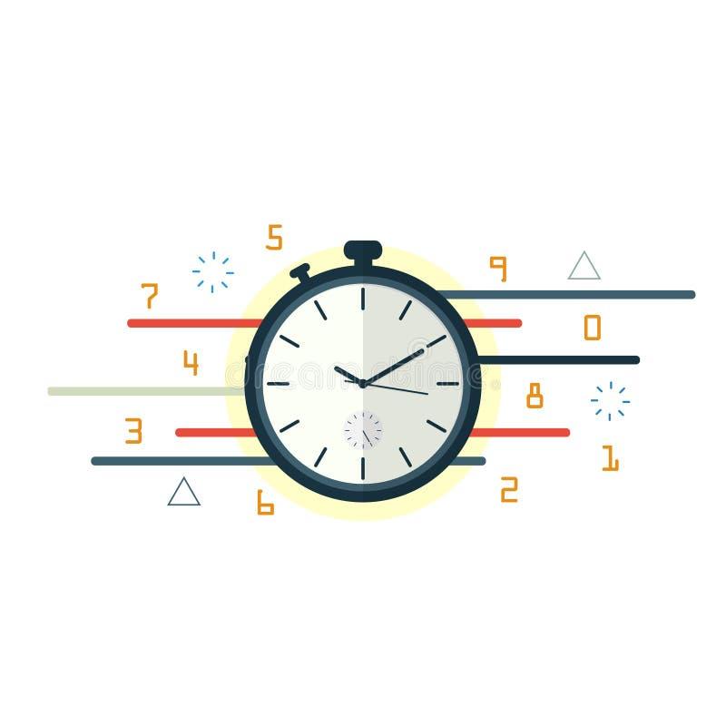 Stoppuhrzeitbewegung, flacher Vektor des Zeitmanagements stock abbildung