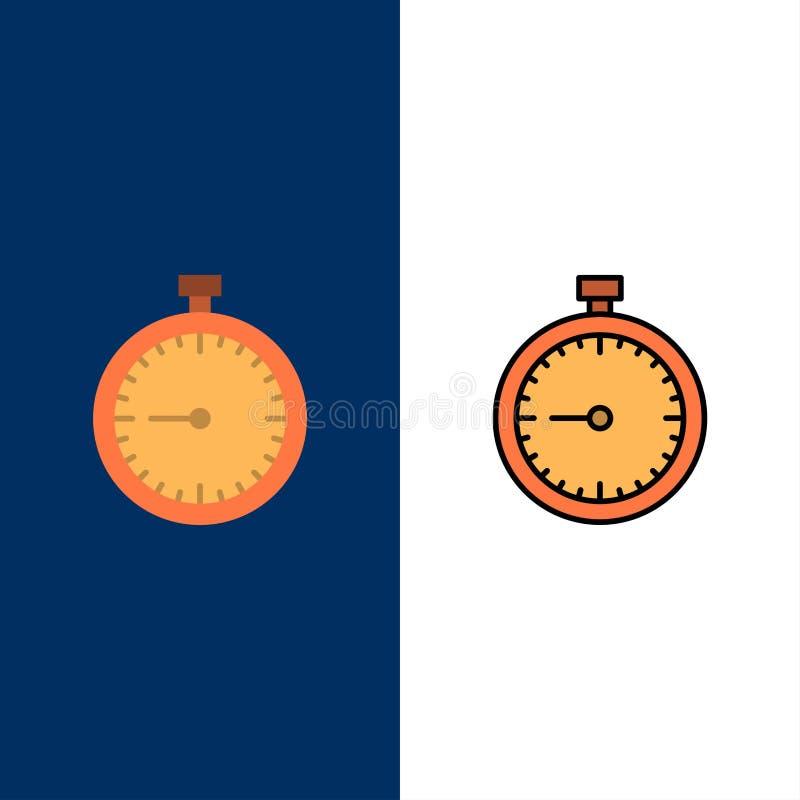 Stoppur klocka, snabbt som är snabb, Tid, tidmätare, klockasymboler Lägenheten och linjen fylld symbol ställde in blå bakgrund fö vektor illustrationer