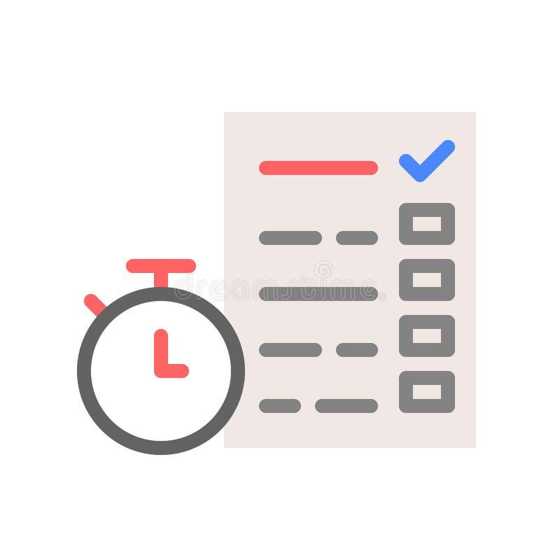 Stoppur och dokument med kontrollistan eller undersökning, tidmanag vektor illustrationer