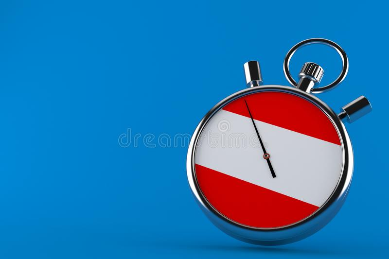 Stopwatch with austrian flag. Isolated on blue background. 3d illustration royalty free illustration