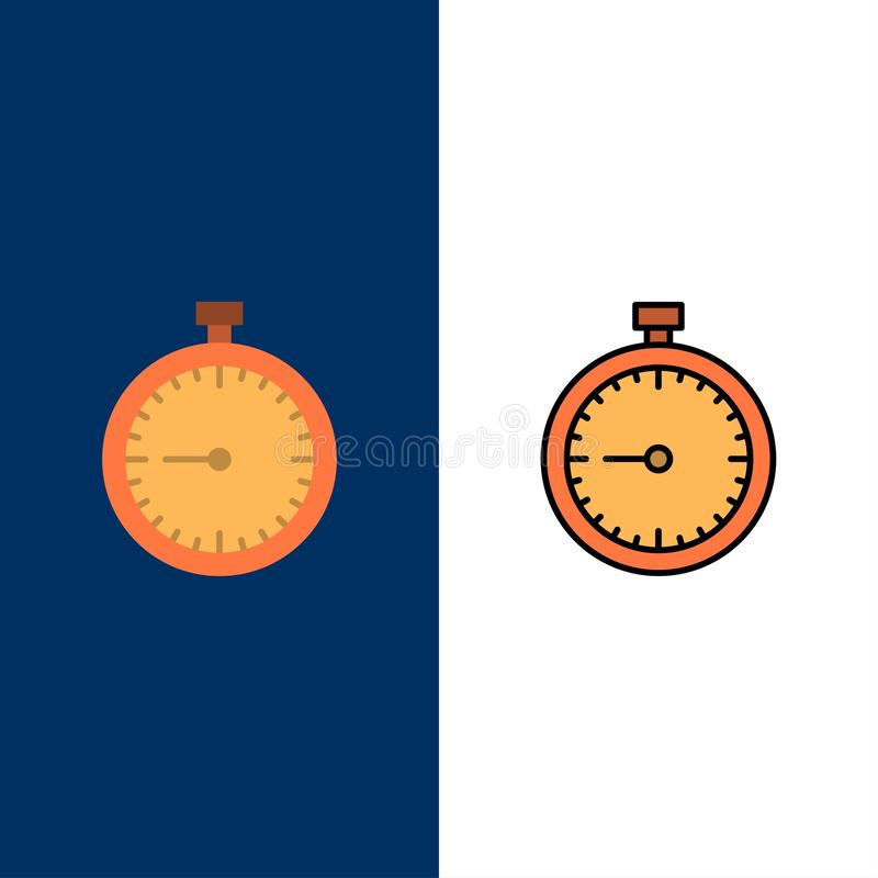 Stopwatch, Clock, Fast, Quick, Time, Timer, Watch  Icons. Flat and Line Filled Icon Set Vector Blue Background vector illustration