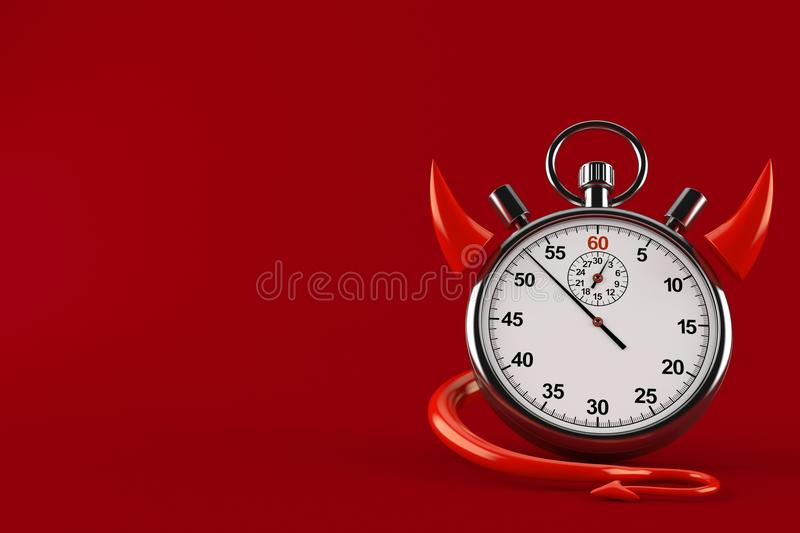 Stopwatch with devil horns vector illustration
