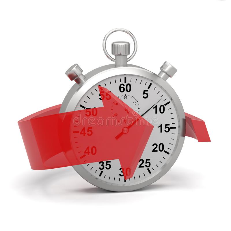 Stopwatch express fast red arrow 3D stock photos