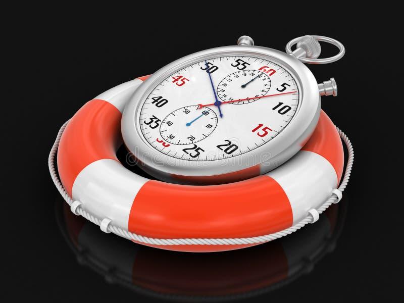 Stopwatch i lifebuoy (ścinek ścieżka zawierać) ilustracji