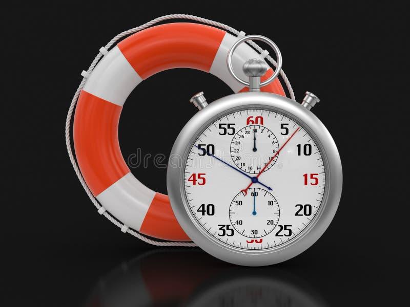Stopwatch i lifebuoy (ścinek ścieżka zawierać) ilustracja wektor