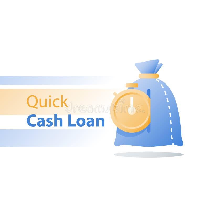 Stopwatch i pieniądze zdojesteśmy, szybka pożyczka, płatnicza zaliczka, czasu zegar, łatwy finansowy rozwiązanie, szybki kredyt,  ilustracja wektor