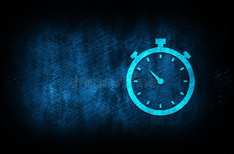 Stopwatch icon abstract blue background illustration digital texture design concept. Stopwatch icon abstract blue background illustration dark blue digital stock illustration