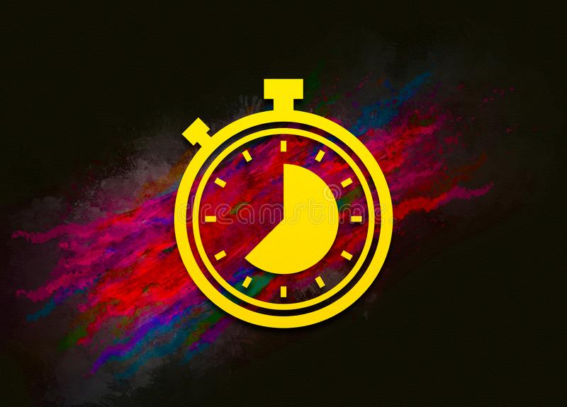 Stopwatch icon colorful paint abstract background brush strokes illustration design. Creative bright red color texture fluid liquid waves vector illustration