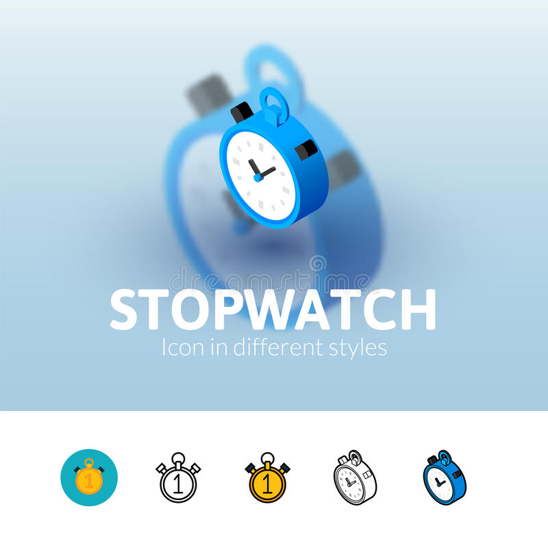 Stopwatch icon in different style. Stopwatch color icon, vector symbol in flat, outline and isometric style isolated on blur background stock illustration