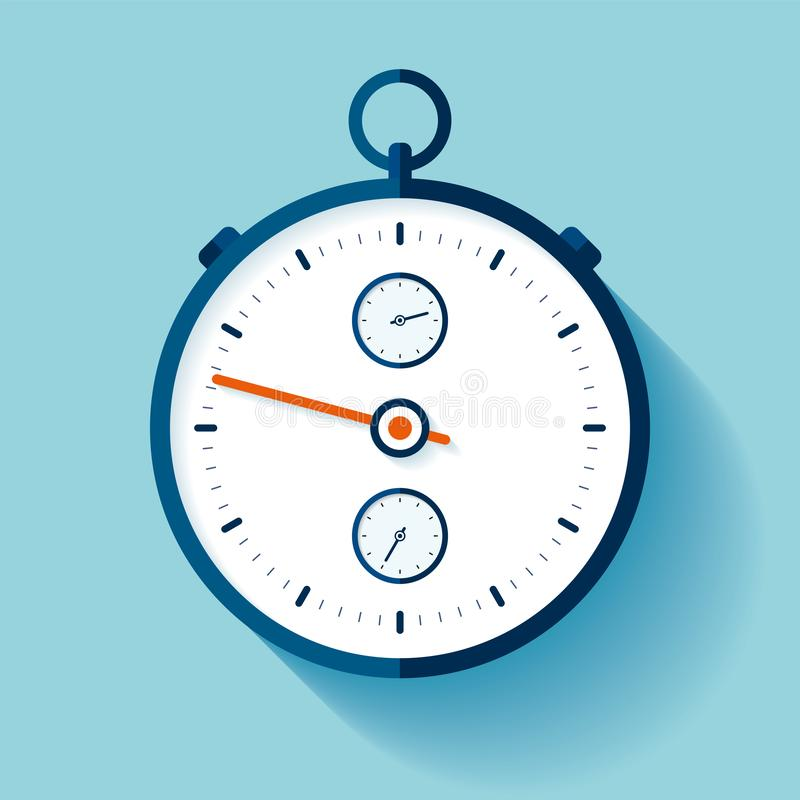 Stopwatch icon in flat style, round timer on color background. Sport clock. Chronometer. Time tool. Vector design element for you stock illustration