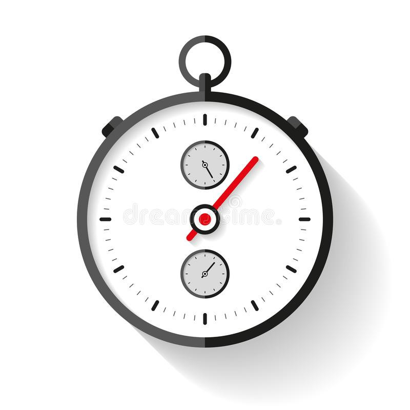 Stopwatch icon in flat style, round timer on white background. Sport clock. Chronometer. Time tool. Vector design element for you vector illustration